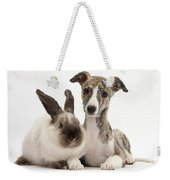 Whippet Pup With Colorpoint Rabbit Weekender Tote Bag