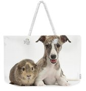 Whippet Pup With Guinea Pig Weekender Tote Bag