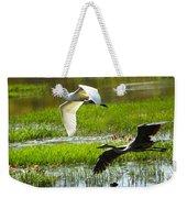 White And Grey Herons In Flight Weekender Tote Bag