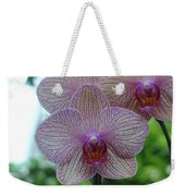 White And Pink Orchid Weekender Tote Bag