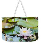White And Pink Water Lily Weekender Tote Bag