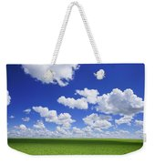White Clouds In The Sky And Green Meadow Weekender Tote Bag