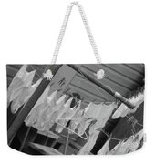 White  Cotton Laundry Blowing In The Wind Weekender Tote Bag
