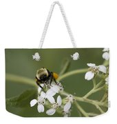 White Crownbeard Wildflowers Pollinated By A Bumble Bee With His Bags Packed Weekender Tote Bag