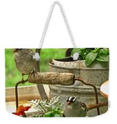 White Crowned Sparrows On The Flower Pot  Weekender Tote Bag