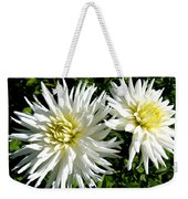 White Dahlias In Autumn  Weekender Tote Bag