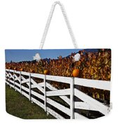 White Fence With Pumpkins Weekender Tote Bag