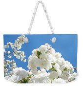 White Floral Blossoms Art Prints Spring Tree Blue Sky Weekender Tote Bag