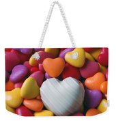 White Heart Candy Weekender Tote Bag
