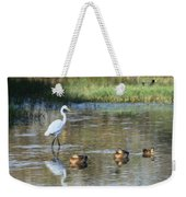 White Heron And Baby Ducks Weekender Tote Bag