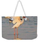 White Ibis With Wings Raised Weekender Tote Bag