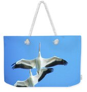 White Pelicans In Flight Weekender Tote Bag
