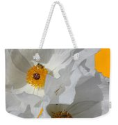 White Poppies On Yellow Weekender Tote Bag