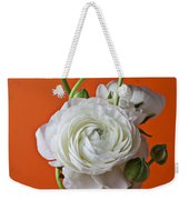 White Ranunculus Close Up In Red Vase Weekender Tote Bag