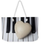 White Stone Heart On Piano Keys Weekender Tote Bag