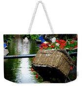 Wicker Bike Basket With Flowers Weekender Tote Bag