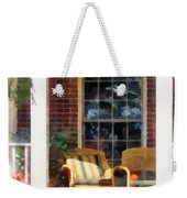 Wicker Chair With Striped Pillow Weekender Tote Bag