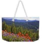 Wildflowers And Mountaintop View Weekender Tote Bag by Ellen Thane and Photo Researchers