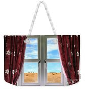 Window And Curtains With View Of Crops  Weekender Tote Bag