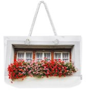 Windows With Red Flowers Weekender Tote Bag