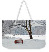 Winter Beach Sign Weekender Tote Bag by Aimee L Maher Photography and Art Visit ALMGallerydotcom