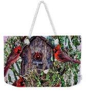 Winter Birdhouse Weekender Tote Bag