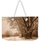 Winter Country Road Weekender Tote Bag