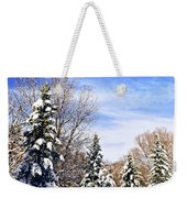 Winter Forest Under Snow Weekender Tote Bag by Elena Elisseeva