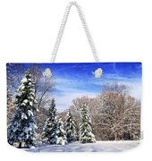 Winter Forest With Snow Weekender Tote Bag