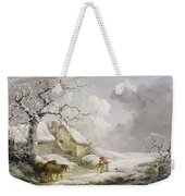Winter Landscape With Men Snowballing An Old Woman Weekender Tote Bag