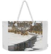 Winter River Weekender Tote Bag