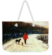 Winter Road Quebec Laurentian Landscape Weekender Tote Bag