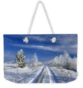 Winter Rural Road Weekender Tote Bag