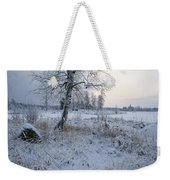 Winter Scene With Snow-covered Grasses Weekender Tote Bag