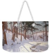 Winter Woodland With A Stream Weekender Tote Bag