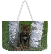 Wolf Pup Playing Peekaboo Weekender Tote Bag