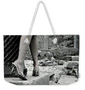 Woman Among Remains Of An Ancient Temple Weekender Tote Bag