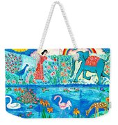 Woman And Blue Elephant Beside The Lake Weekender Tote Bag