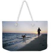 Woman And Dog Running On Beach, Nags Weekender Tote Bag