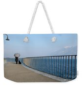 Woman And Her Dog On The Path Weekender Tote Bag