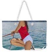 Woman Boating At Kaneohe Weekender Tote Bag