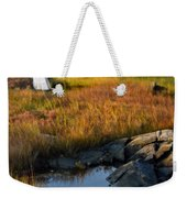 Woman By Boat On Grassy Shore Weekender Tote Bag