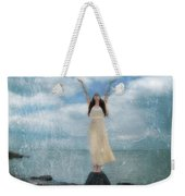 Woman By The Sea With Arms Reaching Up In Praise Weekender Tote Bag
