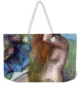 Woman Doing Her Hair Weekender Tote Bag