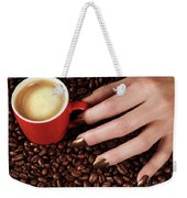 Woman Hand Holding A Cup Of Latte Weekender Tote Bag