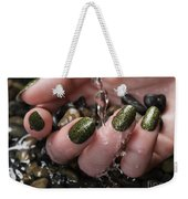 Woman Hand With Fancy Nail Polish In Water Weekender Tote Bag