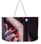 Woman Hands Holding Jewelry Weekender Tote Bag