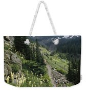 Woman Hiking On Sperry Chalet Trail Weekender Tote Bag