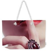 Woman Holding Index Finger To Her Lips Weekender Tote Bag