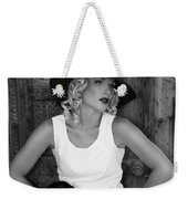 Woman In White  Bw Weekender Tote Bag